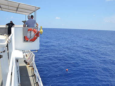 The crew leveraged the extra time during our transit to conduct a man-overboard safety drill and train new personnel. Here, the ship is maneuvered to recover a buoy thrown overboard and used as practice to test man-overboard recovery skills.
