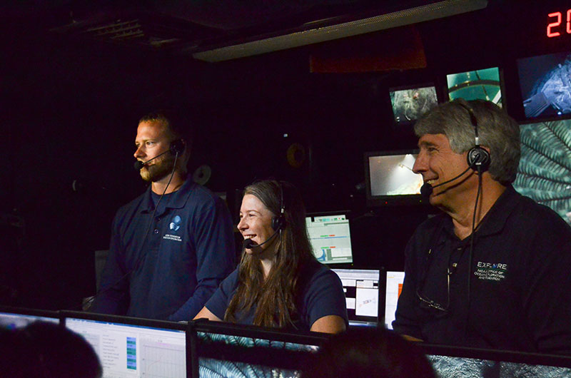Kelley and fellow explorers conduct a live interaction with visitors at the Exploratorium in San Francisco, California, while conducting a deep-ocean ROV dive from offshore of Johnston Atoll in the Pacific.