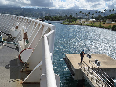 NOAA Ship Okeanos Explorer pulls away from the fuel pier and prepares to depart Pearl Harbor to commence Part I of the Laulima O Ka Moana Expedition – shakedown operations offshore of Oahu.