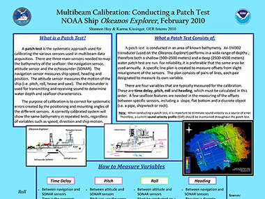Learn more about what a multibeam patch test is and what it consists of by reviewing this poster developed by Okeanos Explorer mapping interns in 2010.