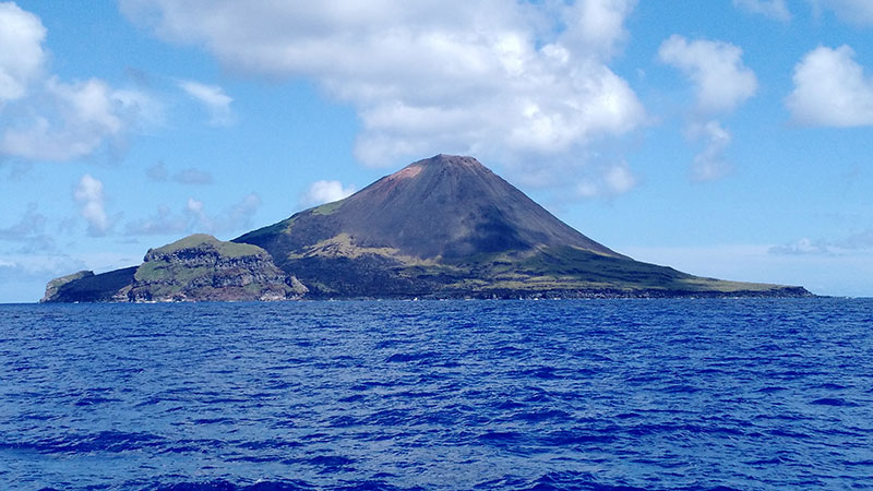 Active volcano we witnessed from the ship near Farallon de Pajaros.