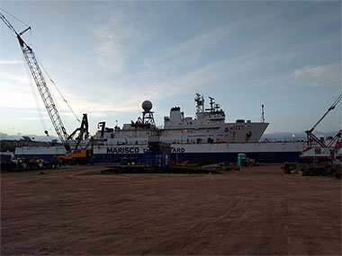 NOAA Ship Okeanos Explorer in dry dock at Barbers Point on the Island of O'ahu in Hawaii.