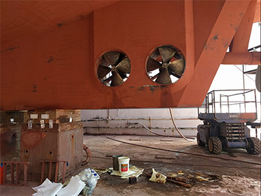 Also during the dry dock period, the bow thruster and stern thrusters underwent routine maintenance.