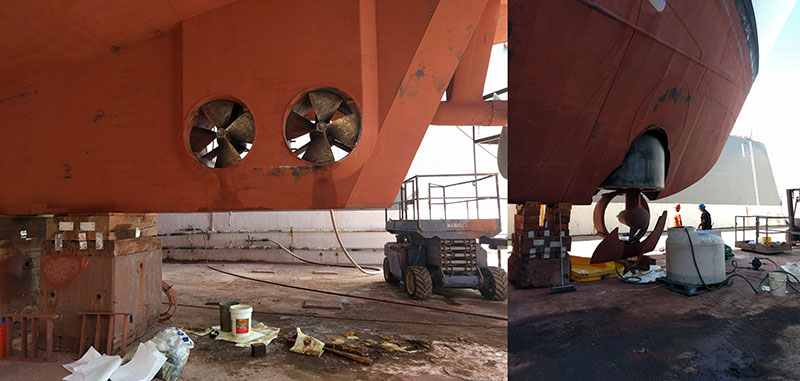 Also during the dry dock period, the bow thruster and stern thrusters underwent routine maintenance. The bow thruster is 550 HP and the stern thrusters have a combined HP of 500. These thrusters help maintain the ship's position during remotely operated vehicle operations.