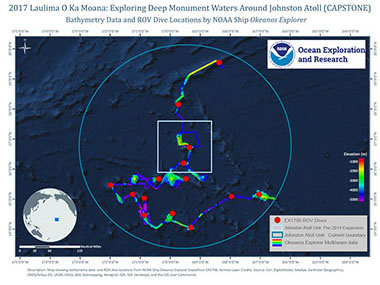 Overview map showing seafloor bathymetry and ROV dives completed during the 2017 Laulima O Ka Moana: Exploring Deep Monument Waters Around Johnston Atoll expedition.