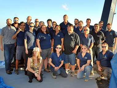 The shipboard mission team of the 2017 Laulima O Ka Moana: Exploring Deep Monument Waters Around Johnston Atoll expedition.