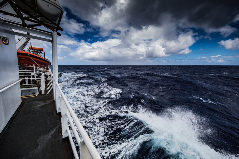 Rough seas and high winds to the port side of NOAA Ship Okeanos Explorer.