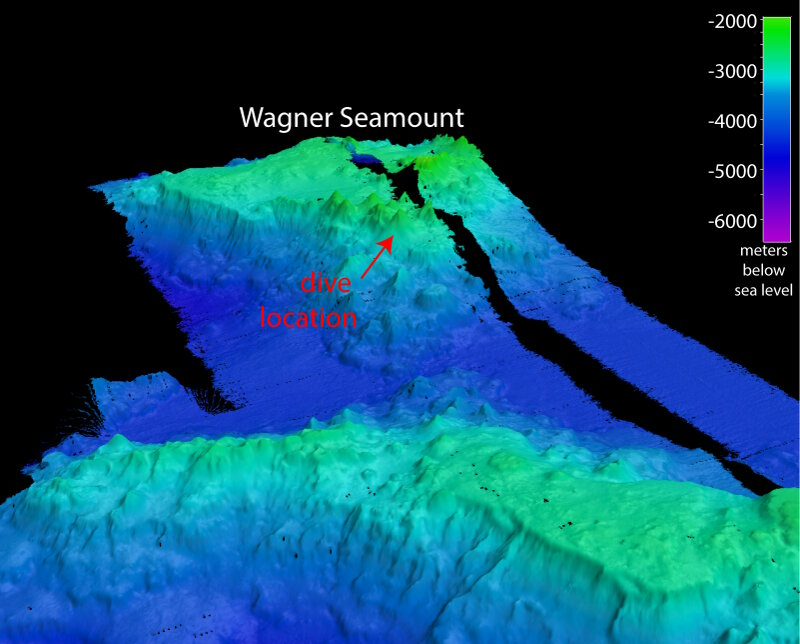 Map of Wagner Seamount showing the location of our remotely operated vehicle dive.