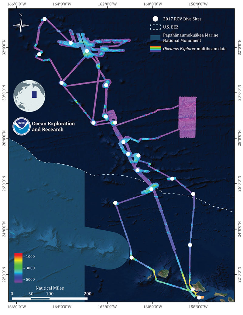 Overview map showing seafloor bathymetry and ROV dives completed during the Deep-Sea Symphony: Exploring the Musicians Seamounts expedition.
