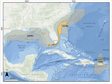 Map showing the geographic regions in which the Southeast Deep Coral Initiative (SEDCI) will operate in 2016-2019.