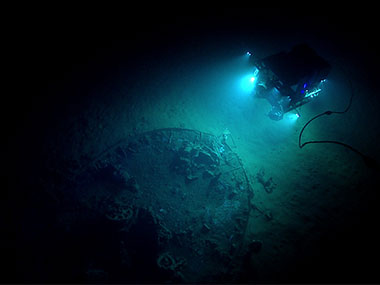 "During Dive 07, Deep Discoverer explored an unknown shipwreck identified by the Bureau of Ocean Energy Management simply as ""ID Number 15377."""