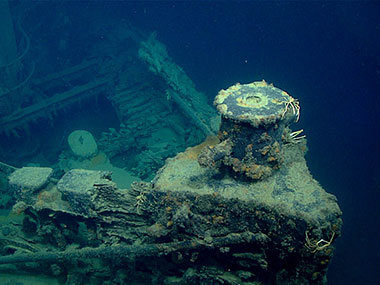 Bow and view into the hull of what is believed to be the wreck of the tugboat New Hope.