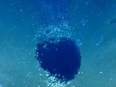 Video of a small brine pool and relic brine waterfall seen during Dive 06 of the expedition.