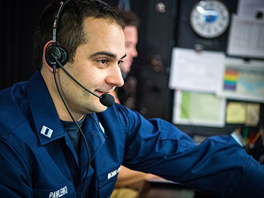 LT Nick Pawlenko, the Gulf of Mexico 1803 Expedition Coordinator, hard at work in the control room aboard NOAA Ship Okeanos Explorer.