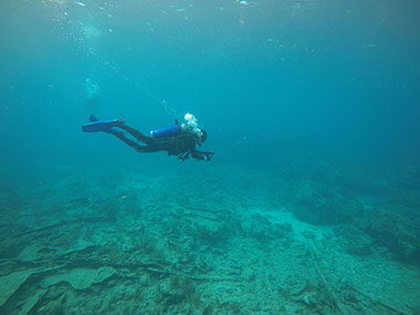 LT Abbitt conducting photogrammetry on the historic shipwreck site, City of Washington, in Key Largo, Florida.
