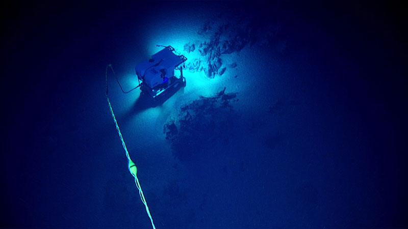 ROV Deep Discoverer, working in conjunction with Seirios and NOAA Ship Okeanos Explorer's dynamic positioning system, is able to get in close to the seafloor to image large rock outcrops on Dive 14 of the expedition. Currents had prevented previous attempts to dive in this location.