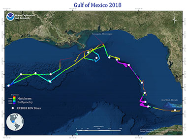 Overview map showing seafloor bathymetry and ROV dives completed during the Gulf of Mexico 2018 expedition.