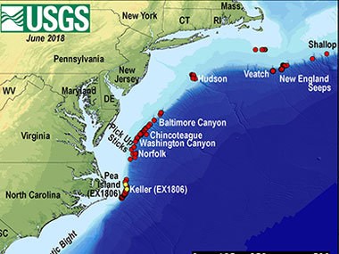 Map showing the locations of known seep sites along the U.S. Atlantic coast.