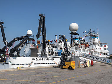 NOAA Ship Okeanos Explorer dressed for the fourth of July at the pier in Norfolk, Virginia.
