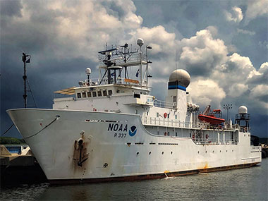 NOAA Ship <em>Okeanos Explorer</em> at dock in Charleston, South Carolina, preparing to get underway for the Windows to the Deep 2018 expedition.