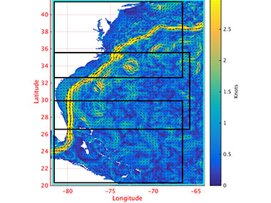 The higher currents of the Gulf Stream along the U.S. east coast are denoted in yellow in this plot.
