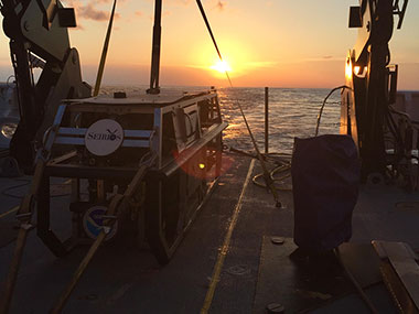 The first sunset underway during the Windows to the Deep 2018 expedition.