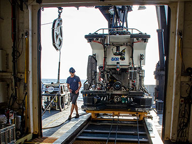 The remotely operated vehicle Deep Discoverer being prepared for launch during a dive for the Windows to the Deep 2018 expedition.