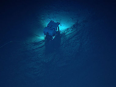 Remotely operated vehicle <em>Deep Discoverer</em>'s limited field of view on the seafloor below <em>Seirios</em> during Dive 04 of the Windows to the Deep 2018 expedition.