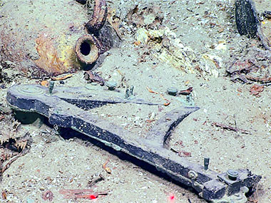 An octant discovered during an expedition dive on the Blake Ridge Wreck.