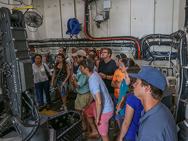 Staff from Virginia Sea Grant, members of NOAA Atlantic Hydrographic Branch, and students tour NOAA Ship Okeanos Explorer at the conclusion of the expedition in Norfolk, Virginia.