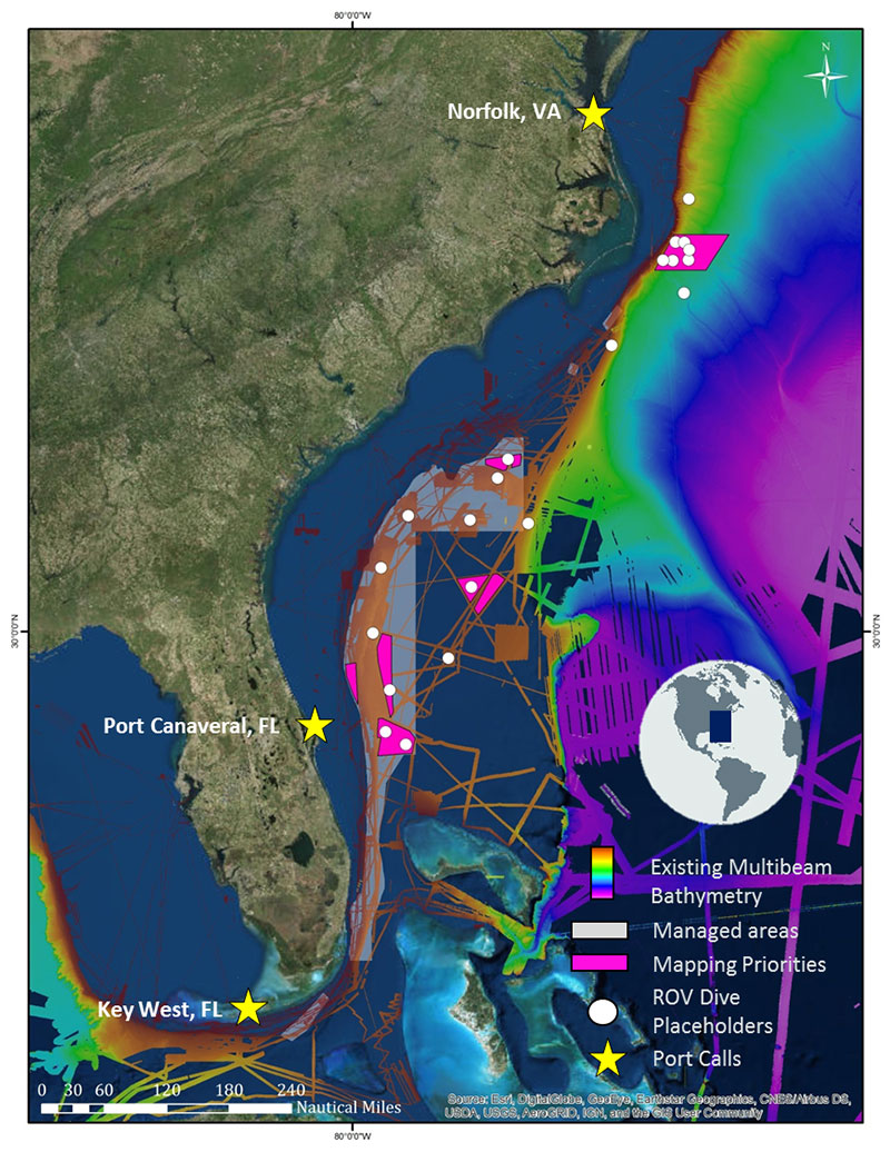 Tentative plans for Leg 2 of the Windows to the Deep 2019 expedition, starting in Port Canaveral, Florida, and wrapping up in Norfolk, Virginia. Over the past decade, NOAA Ship Okeanos Explorer and the U.S. Extended Continental Shelf Project have mapped much of the deepwater habitats offshore the U.S. east coast (assembled bathymetry shown on this map), but much of the Blake Plateau remains unmapped and poorly explored. This expedition will contribute much-needed ROV survey and bathymetry data to build upon the existing foundation.