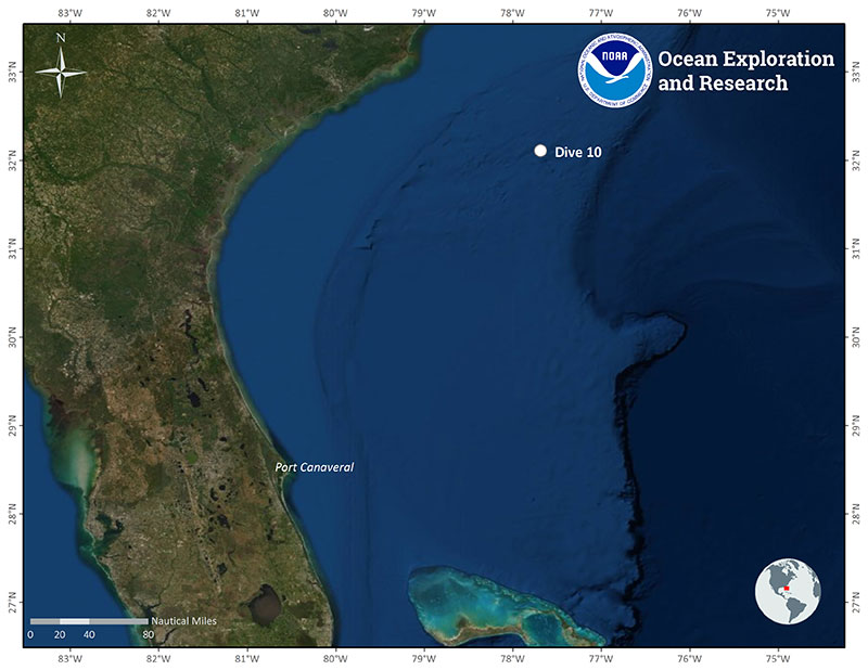 Location of Dive 10 on July 1, 2019.
