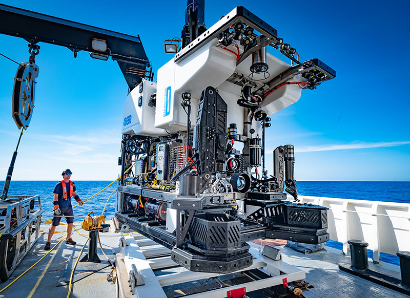The remotely operated vehicle, Deep Discoverer, being recovered after completing 19 dives during the Windows to the Deep 2019 expedition.