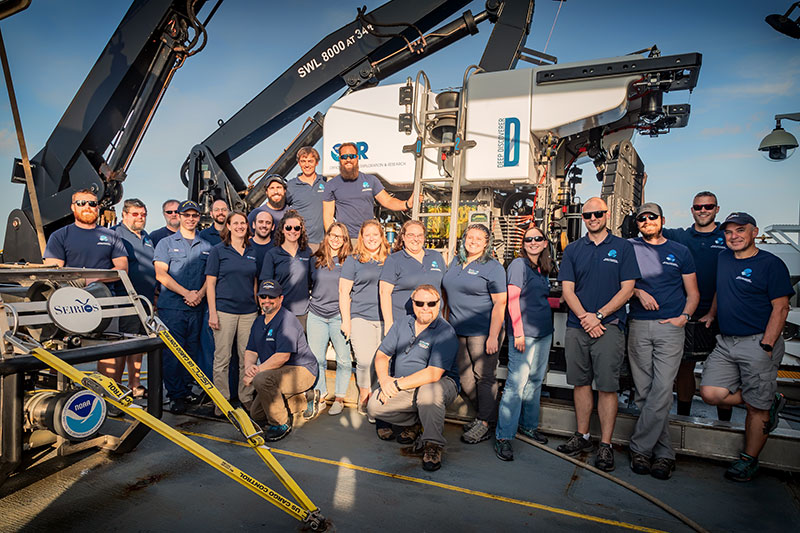 The mission team onboard NOAA Ship Okeanos Explorer for the Windows to the Deep 2019 expedition.