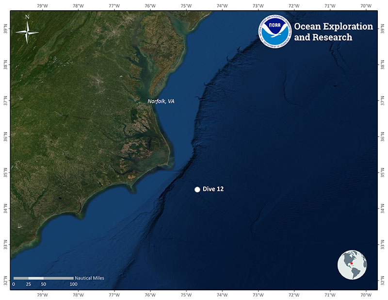 Location of Dive 12 on July 4, 2019.