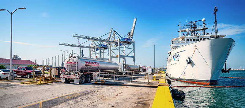 NOAA Ship Okeanos Explorer completing the fueling operations at Port Canaveral, Florida in preparation for Windows to the Deep 2019 expedition.