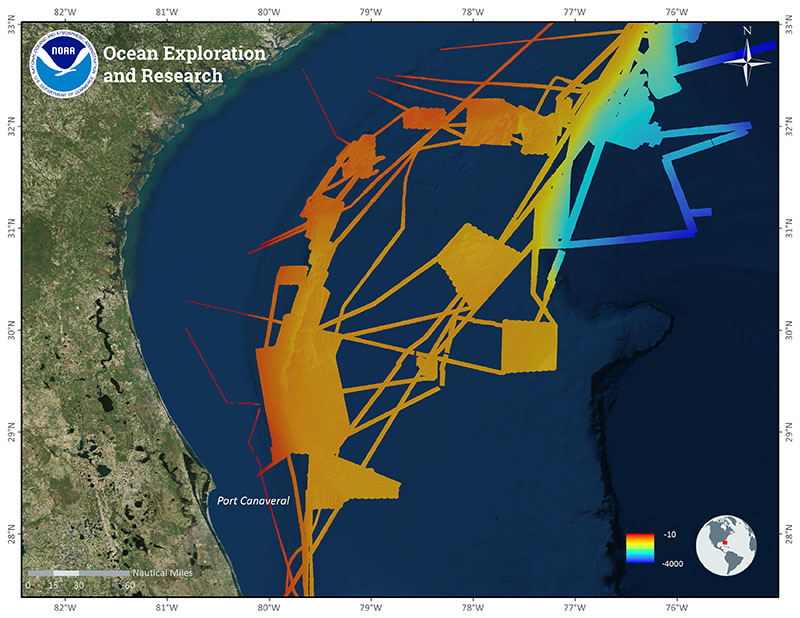 Image of all of NOAA Ship Okeanos Explorer mapping data collected in the Blake Plateau and Ridge region by NOAA OER since 2010 and prior to the current expedition.