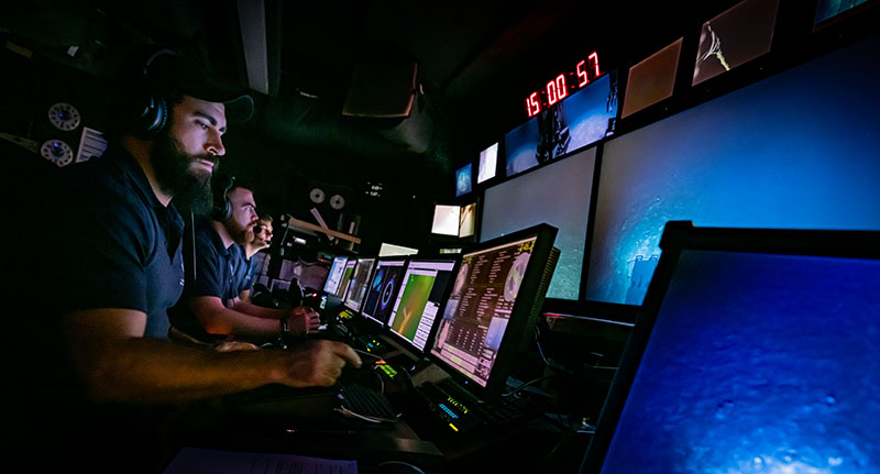 Remotely operated vehicle pilots leading a dive earlier this week during the Windows to the Deep 2019 expedition.