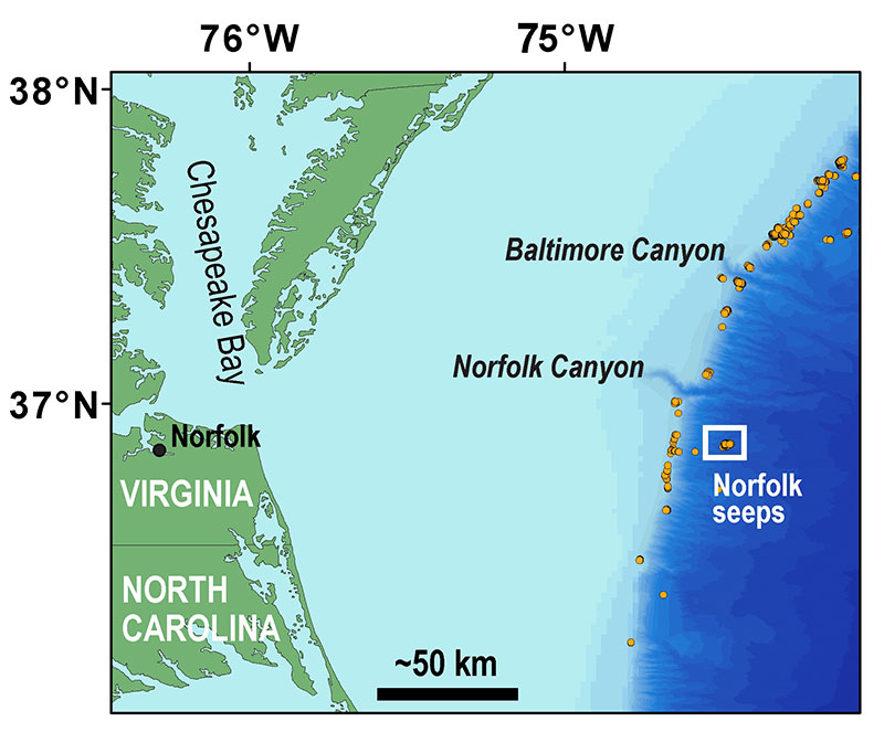 Location of Norfolk seeps offshore Virginia and south of Norfolk Canyon.