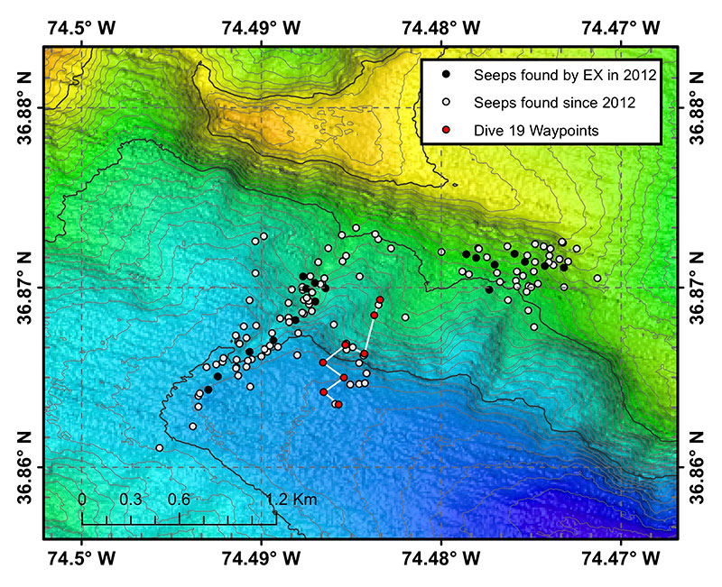 Map of Dive 19 waypoints (red points) and track (white line). Black points indicate seep locations identified with Okeanos Explorer multibeam sonar water column backscatter data collected in 2012 and published in Skarke et al. (2014). White points indicate seep locations identified by researchers at Mississippi State University with Okeanos Explorer multibeam sonar water column imaging data collected since 2012. The bathymetric data were collected with the Okeanos Explorer's multibeam sonar and are contoured at 10 meter (~33 ft) intervals.