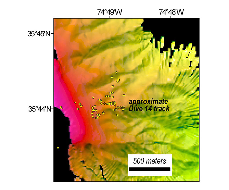New bathymetric data acquired by NOAA Ship Okeanos Explorer with the location of methane seeps identified since 2012 shown as yellow circles.  The dive track covered about 55 meters (180 feet) along the ridgeline.  Pink shading at the left side of the map is approximately 150-180 meters (490-590 feet) water depth.