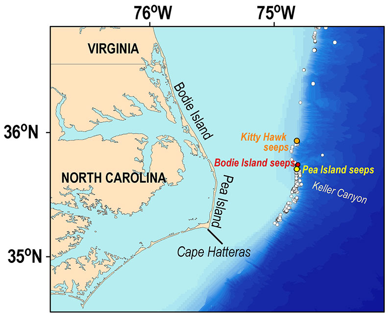 Location of Bodie Island seeps offshore Cape Hatteras, North Carolina, shown relative to the Pea Island and Kitty Hawk seep fields which were explored in April 2019 as part of the DEEPSEARCH expedition.
