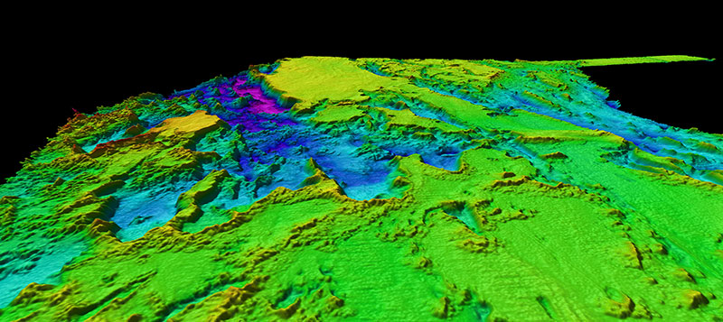 Multibeam bathymetry collected during leg 1 of this expedition offshore the southeastern United States revealed several interesting features that will be investigated via remotely operated vehicle exploration during Leg 2.