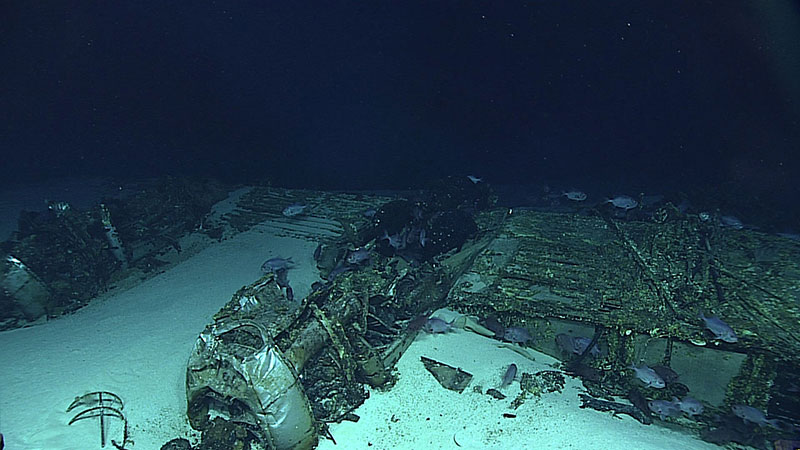 There are not just ships in the deep ocean wanting to be uncovered, there are other artifacts of our past including this aircraft lost in the vicinity of Tinian and Saipan. This B-29 Superfortress aircraft, one of the largest aircraft flown by the United States in World War II, was discovered in 2016 using our remotely operated vehicle Deep Discoverer.