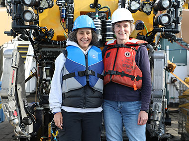 Dr. Martha Nizinski (right) and Dr. Anna Metaxas shared chief scientist duties during the previous transboundary cruises.
