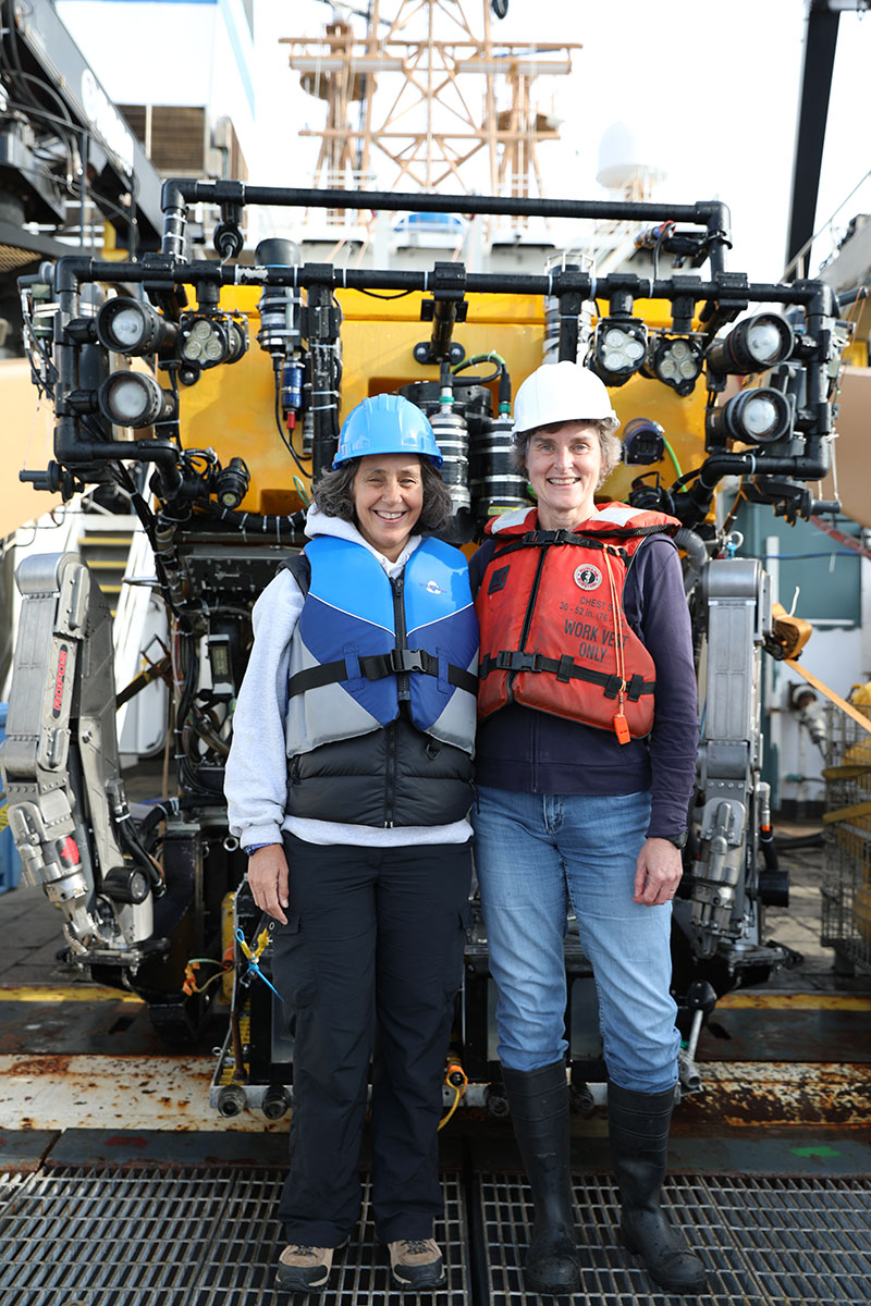 Dr. Martha Nizinski (right) and Dr. Anna Metaxas shared chief scientist duties during the previous transboundary cruises. Here, each attends to samples collected by the Canadian remotely operated vehicle ROPOS. These samples serve as taxonomic vouchers that further our understanding of the composition, distribution, and larval transport of species among canyons.