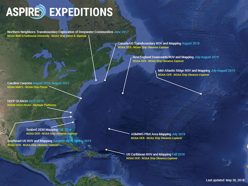 This is the third Okeanos Explorer expedition in 2018 that will contribute to NOAA's Atlantic Seafloor Partnership for Integrated Research and Exploration (ASPIRE) campaign, a major multi-year, multi-national ocean exploration field program focused on raising collective knowledge and understanding of the North Atlantic Ocean. This maps shows currently identified ASPIRE expeditions (2016-2019). The campaign will provide data to inform and support research planning and management decisions in the region.
