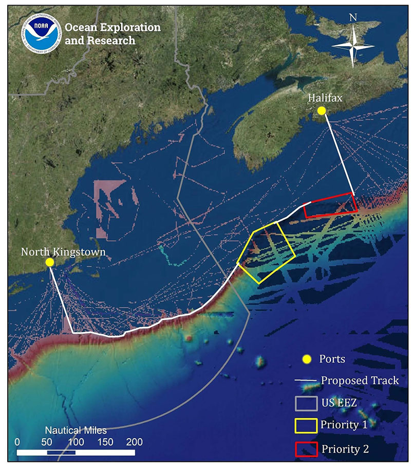 Map showing the priority areas for and mapping operations to be conducted during the Deep Connections 2019 expedition, overlaid onto existing mapping data in the region. This expedition will explore poorly understood deepwater areas of the U.S. and Canadian Atlantic Continental Margin to address science and management priorities of the regions.
