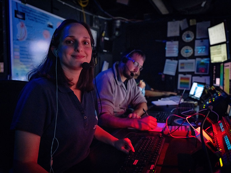 The author, Global Foundation for Ocean Exploration Video Editor Emily Narrow, in the video chair aboard NOAA Ship Okeanos Explorer.