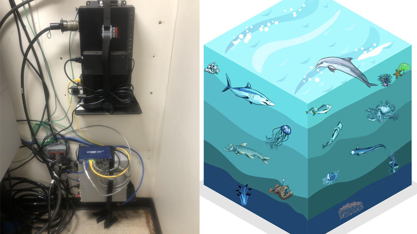 Left: Image of the general purpose transceiver (GPT) (bottom, grey box) and the wide band transceiver (WBT) (top, black box) on NOAA Ship Okeanos Explorer. This WBT controls the 38 kilohertz frequency and was upgraded from a GPT in 2021. Right: Artist rendition of the water column which is divided into five zones from the surface to the seafloor. Each zone varies in pressure, light, temperature, oxygen, nutrients, and biological diversity.